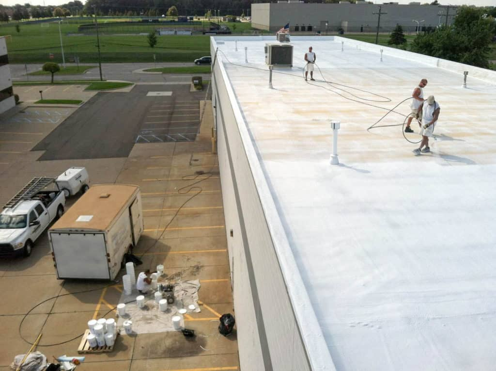 "Lucius Commercial Roofing Flat Roof Restoration A lot of commercial roofs over the years were built with a modified bitumen roof membrane, also known as ""modbit."" The biggest benefit of a modbit roof is its overall durability. The biggest drawback is the cost of replacement. Modbit roof lifecycles are typically 15 years. When your modbit roof is on its last legs the seams and flashing detail around penetration points begin to be a problem and can be the sources of leaks. The same issues occur in smooth surface gravel bur roofs, EPDM, TPO, PVC, and SPF roof systems. The good news is all of these roofing systems do not need to be replaced. They all can be restored with a Ure-A-Sil coating system. 